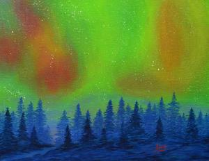 Aurora Sky Painting By Aicy Karbstein On Exhibit At WMG Woman Made Gallery